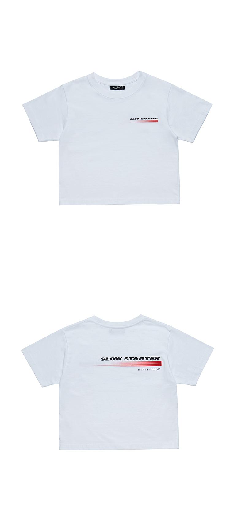 문수권세컨(MSKN2ND) 슬로우 스타터 크롭 반팔티 티셔츠 화이트